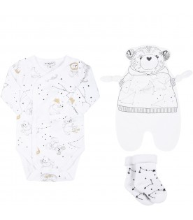 White set for babykids with logo and constellations