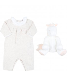 Multicolor set for baby girl with plush toy