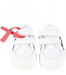 White sneakers for kids with red zip tye