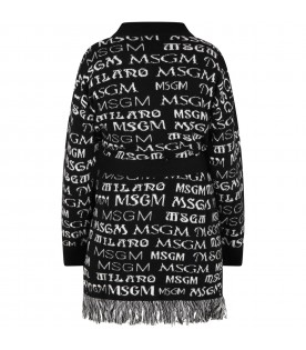 Black cardigan for girl with logos