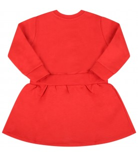 Red dress for baby girl with logo