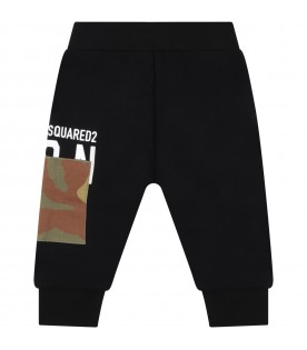 Black sweatpant for baby boy with logo