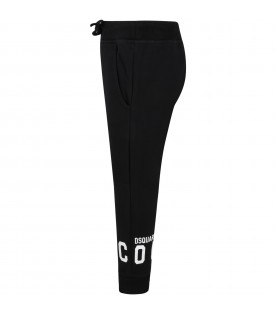 Black sweatpant for kids with logo