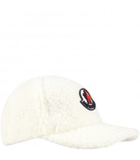Ivory hat for kids with iconic patch