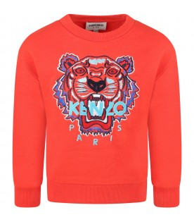 Red sweatshirt for boy witth iconic tiger