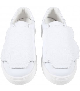 White sneakers for kids with iconic tiger