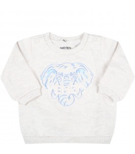 Beige tracksuit for baby boy with elephant