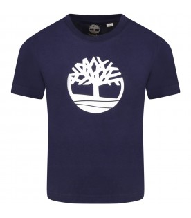 Blue t-shirt for boy with iconic tree