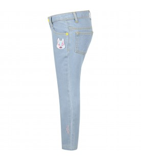 Light blue jeans for girl with rabbit