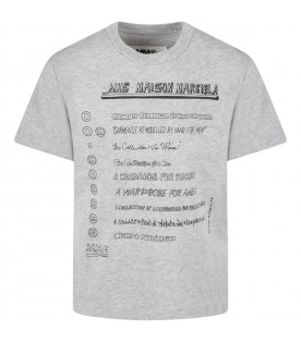 Grey t-shirt for kids with logos