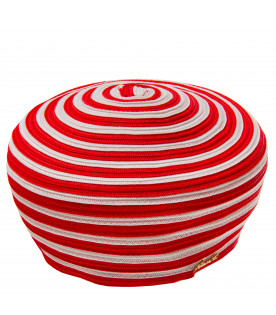 White and red striped hat
