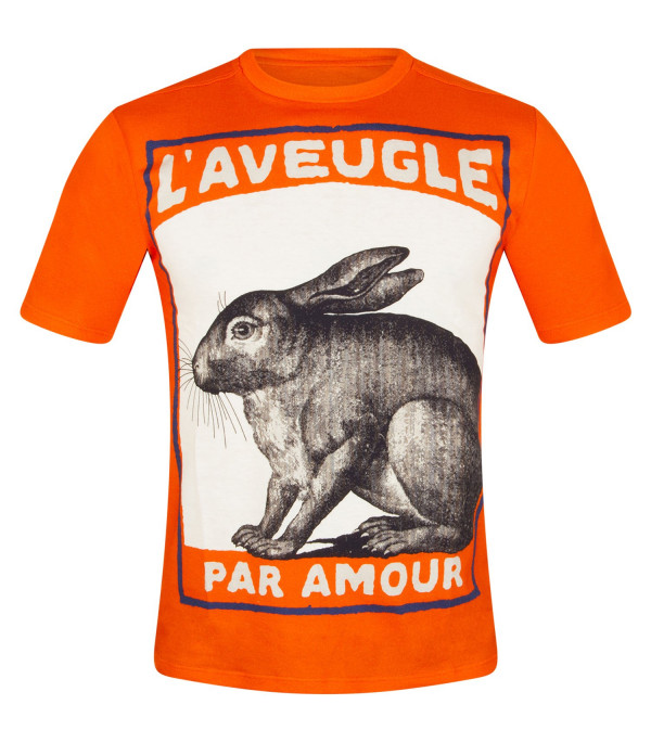 GUCCI KIDS Orange t-shirt with rabbit print