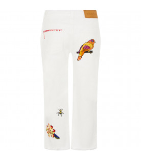 GUCCI KIDS White denim jeans with embroderies