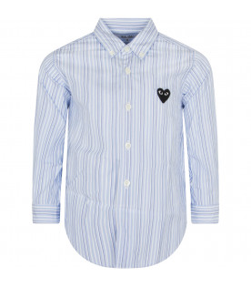 Light blue and blue striped shirt with heart
