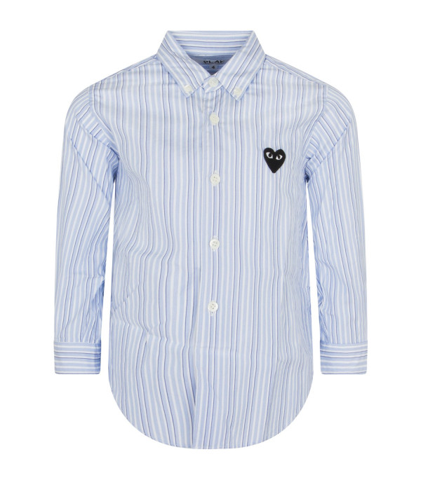 COMME DES GARÇONS PLAY KIDS Light blue and blue striped shirt with heart