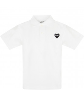 COMME DES GARÇONS PLAY KIDS White polo t-shirt with heart