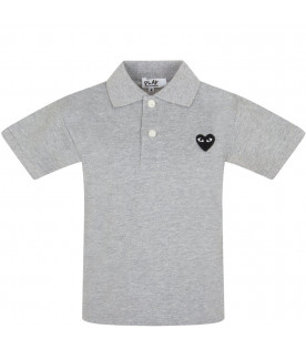 COMME DES GARÇONS PLAY KIDS Melanged grey polo t-shirt with heart