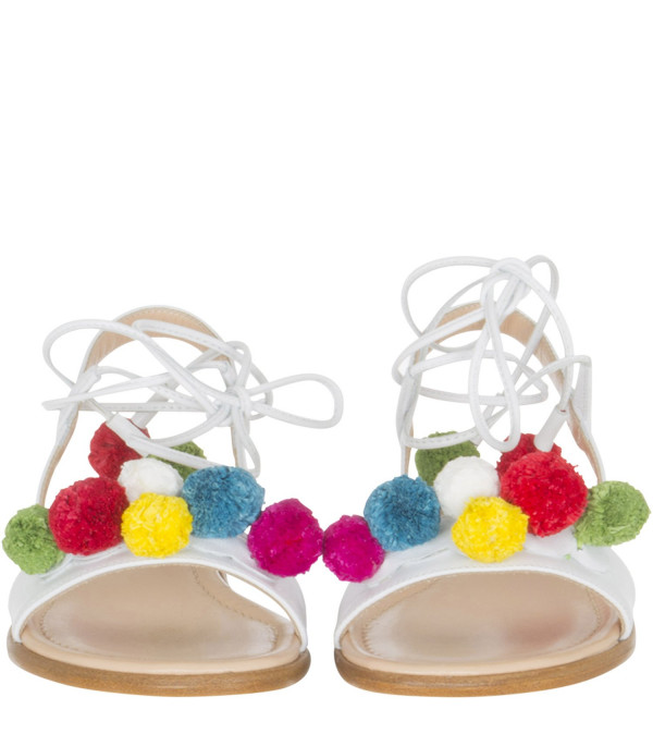AQUAZZURA MINI White sandals with colorful pompon