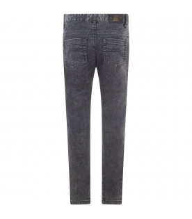 Black denim jeans with patch