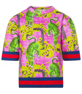 GUCCI KIDS Pink sweatshirt with tigers and blue and red Web detail
