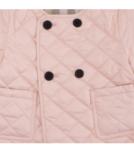 BURBERRY KIDS Pink coco quilted jacket