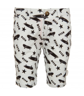 MSGM KIDS White shorts white black skateboard print