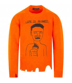 "Maglione arancione ""Life is so sweet"""