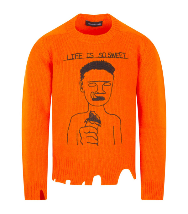 "RICCARDO COMI KIDS Orange ""Life is so sweet"" sweater"