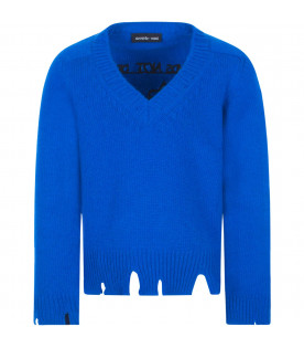 "RICCARDO COMI KIDS Maglione royal blu ""Friends not dinner"""
