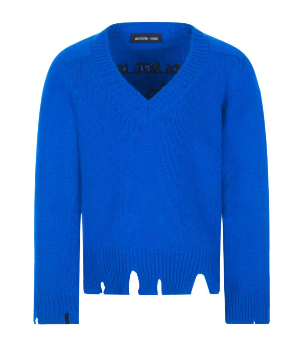 "RICCARDO COMI KIDS Royal blue ""Friends not dinner"" sweater"