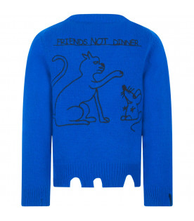 "Maglione royal blu ""Friends not dinner"""