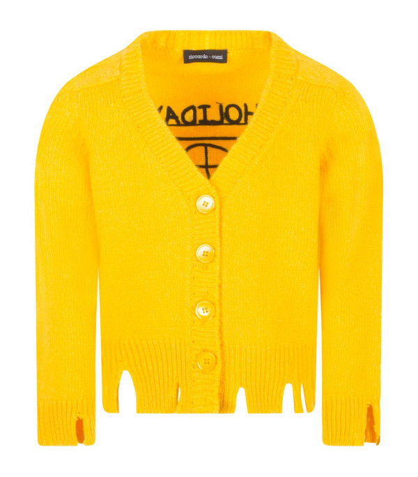 "RICCARDO COMI KIDS Cardigan giallo ""Friends not dinner"""