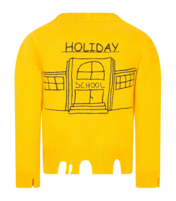 "RICCARDO COMI KIDS Yellow ""Friends not dinner"" cardigan"