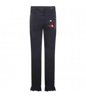 Black denim jeans with embroideried M