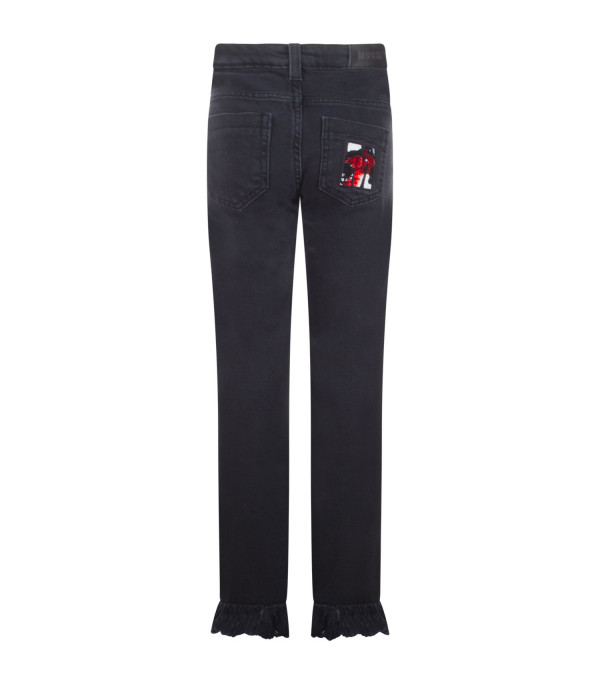 MSGM KIDS Black denim jeans with embroideried M