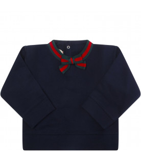 GUCCI KIDS Blue sweatshirt with red and green Web