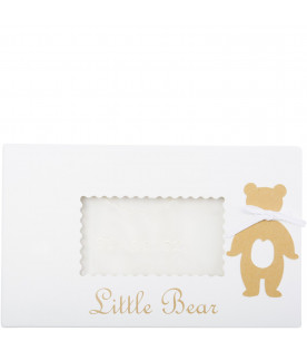 LITTLE BEAR Ivory good-luck newborn shirt with bows