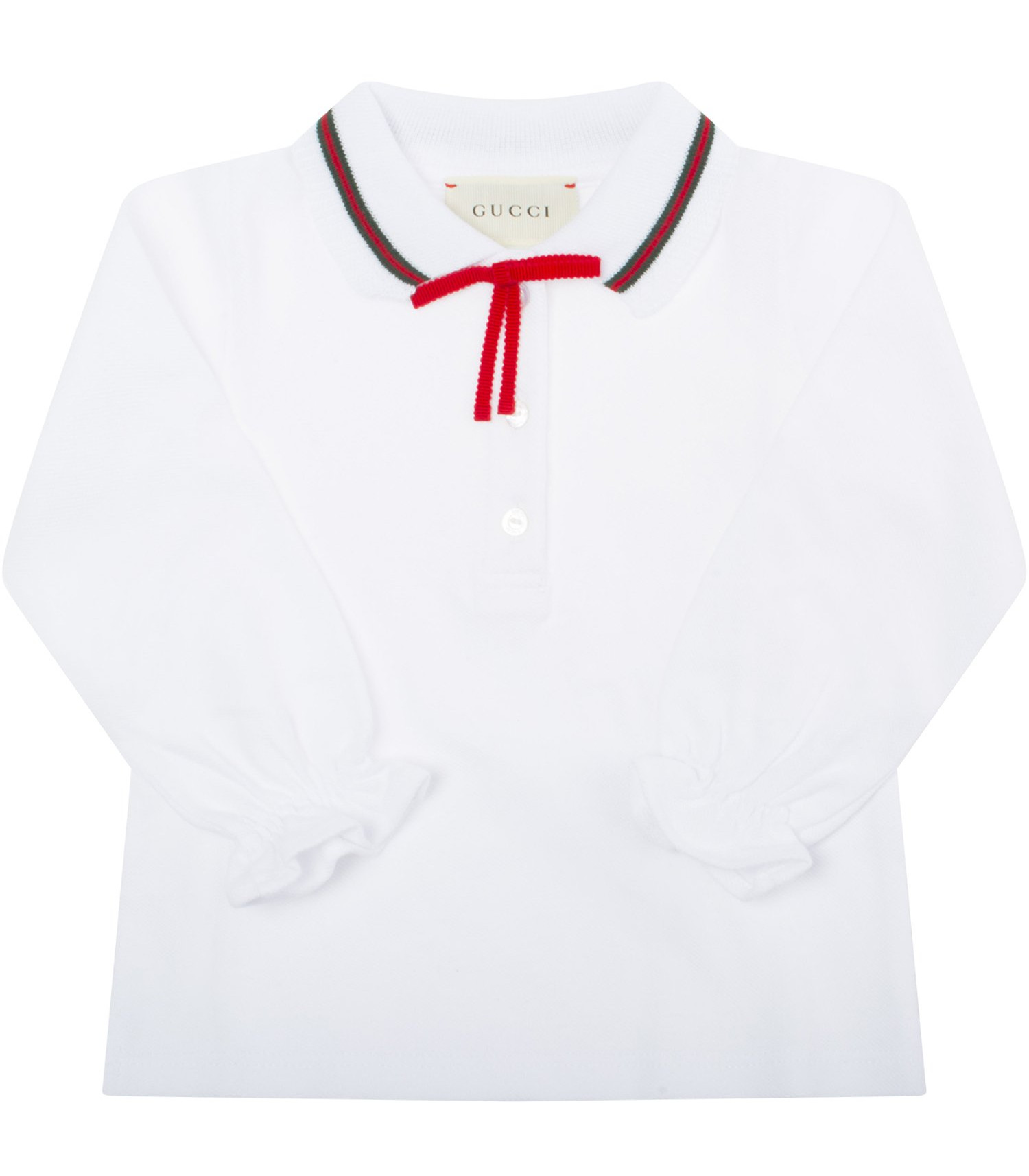 Gucci Kids White polo shirt with red and green web detail