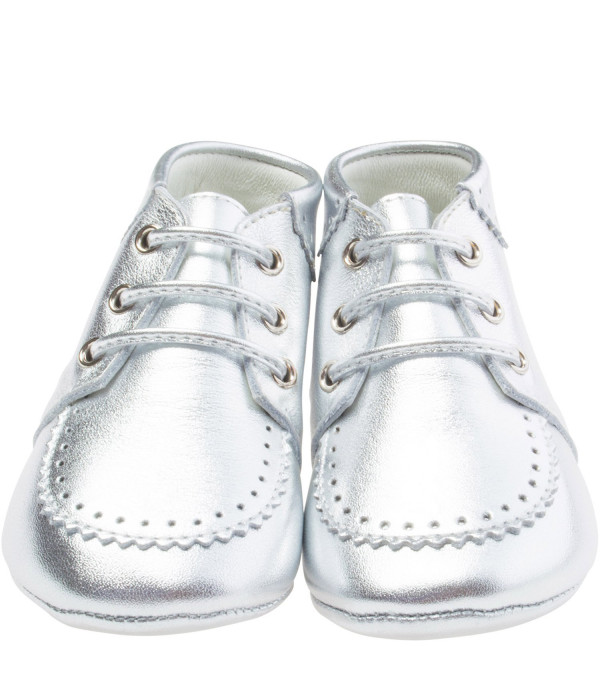 GUCCI KIDS Silver laced-up shoe with Web detail