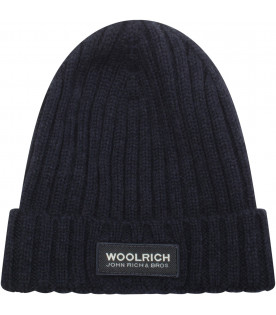 WOOLRICH KIDS Wool knit hat with turn up