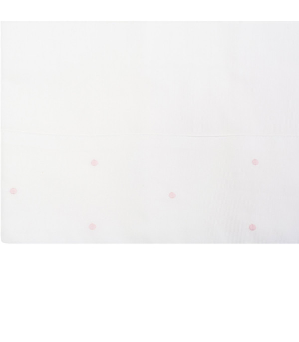 LITTLE BEAR White bed sheet set with pink polka-dots