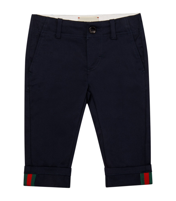 GUCCI KIDS Blue pants with Web details