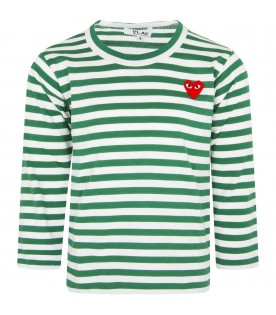 White and green striped t-shirt with heart