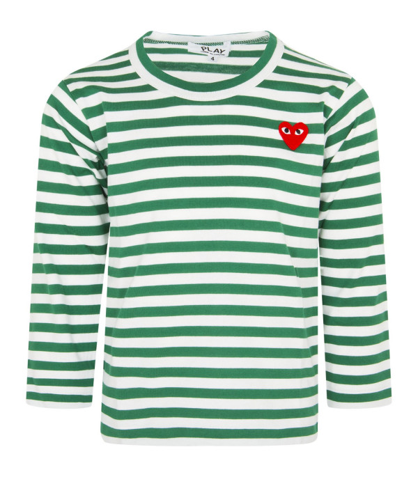 COMME DES GARÇONS PLAY KIDS White and green striped t-shirt with heart