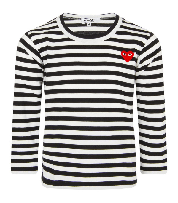 COMME DES GARÇONS PLAY KIDS White and black striped t-shirt with heart
