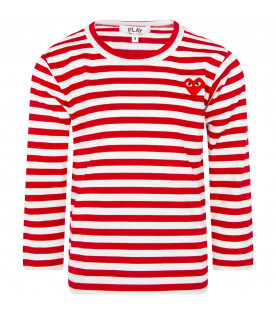 COMME DES GARÇONS PLAY KIDS White and red striped t-shirt with heart