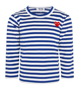 COMME DES GARÇONS PLAY KIDS White and electric blue striped t-shirt with heart