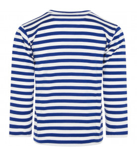 White and electric blue striped t-shirt for boy with heart