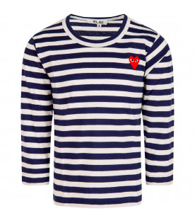 COMME DES GARÇONS PLAY KIDS White and blue striped t-shirt with heart