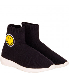 Black socks sneaker with smile